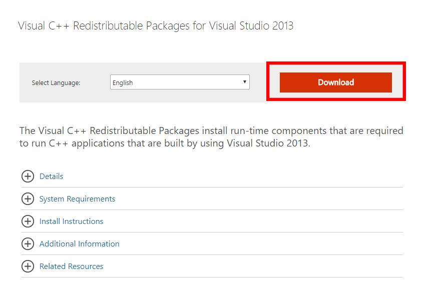 visual c++ redistributable 2013 update